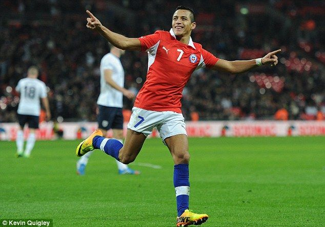 Star of the show: Alexis Sanchez scored both goals as Chile eased to a comfortable win over England