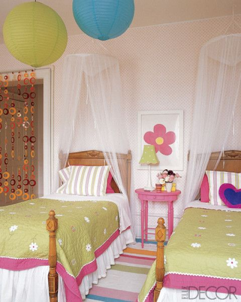 Two Girls Bedroom Accented With Pottery Barn Kids Accessories...Discover more decor and organizing ideas for babies to teens visit http://kidsroomdecorating.net