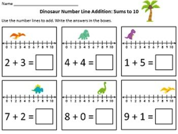 Freebie! Adding and subtracting with dinosaur number line fun! 2 pages of addition practice(sums to 10), and 2 pages of subtraction practice(numbers to 10). 6 problems per page.