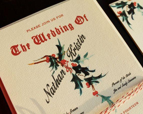 Red Holiday Wedding Invitations Vintage Christmas Printable DIY or Ship on Etsy, $50.00