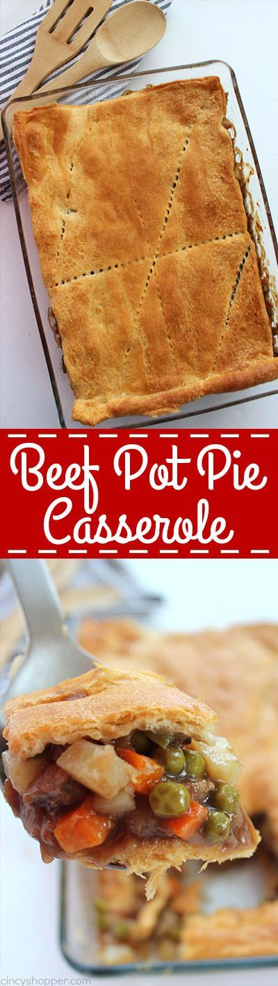 Easy Beef Pot Pie Casserole uses store bought Crescent Rolls and frozen veggies, it is a super simple family friendly dinner idea.