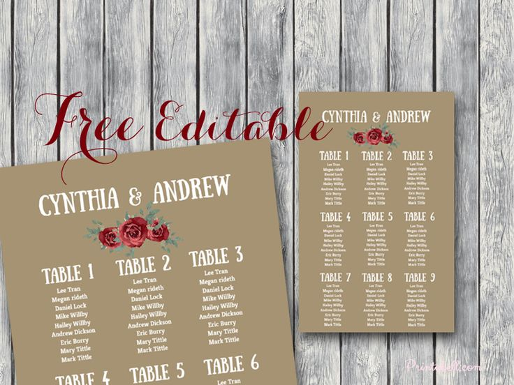14 best Wedding Free Printables images on Pinterest Bridal - free seating chart template for wedding reception