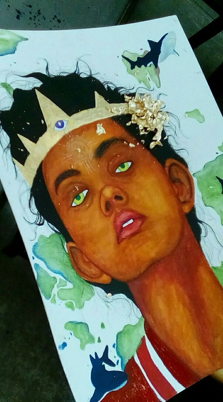 Watercolour Female Goldleaf Dark Skin Tone
