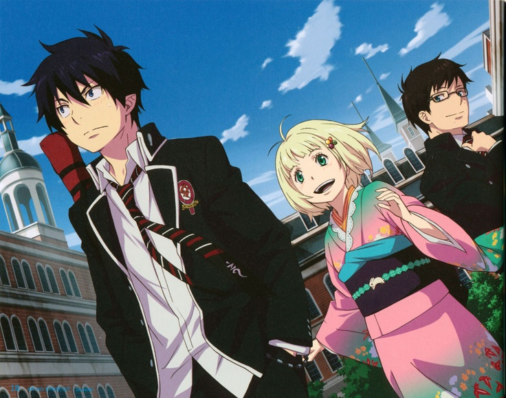 Blue Exorcist Rin, Shiemi, and Yukio