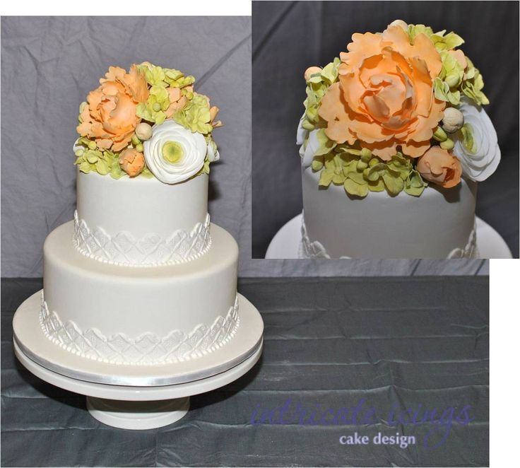 sugar lace wedding cake and gumpaste flowers peonies ranuculus hydrangea wedding cakes by. Black Bedroom Furniture Sets. Home Design Ideas