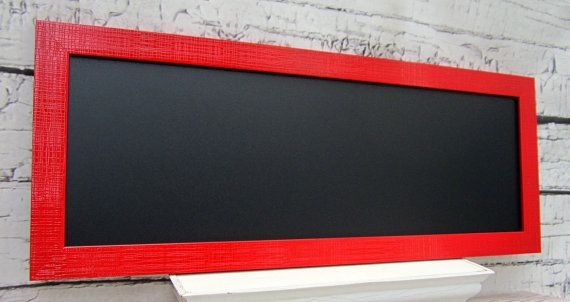 "MODERN FRAMED CHALKBOARDS For Sale Long Narrow Chalk board Red Kitchen 39""x16"" Red Framed Magnetic Urban Modern Decor Kitchen Magnet Board"