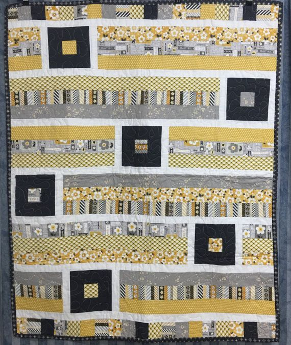 Cot Quilt Breezy in grey and mustard by BlackCatCreationsAU