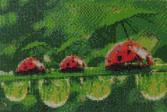 Ladybird with Umbrella Diamond Painting Finished Completed Wall Decor Embroidery Cross Stitch Rhinestone Needlework Mosaic