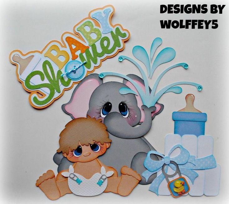 ELITE4U BABY SHOWER BOY paper piecing premade scrapbook page album  WOLFFEY5