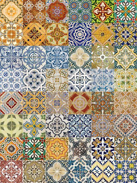 Kit de adesivos - Azulejos retrô - 20x20cm