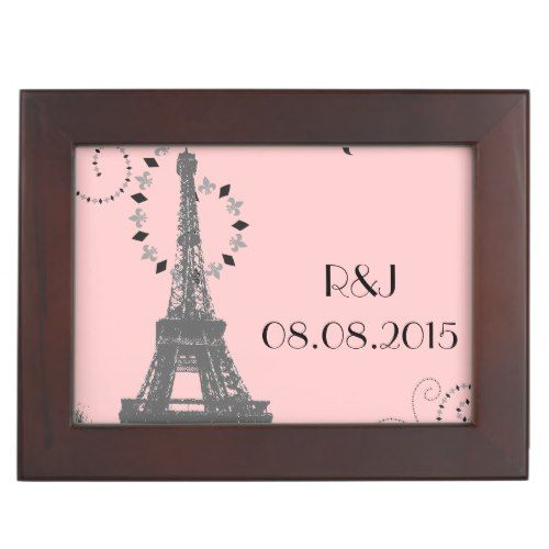 modern pink eiffel tower vintage paris wedding keepsake box