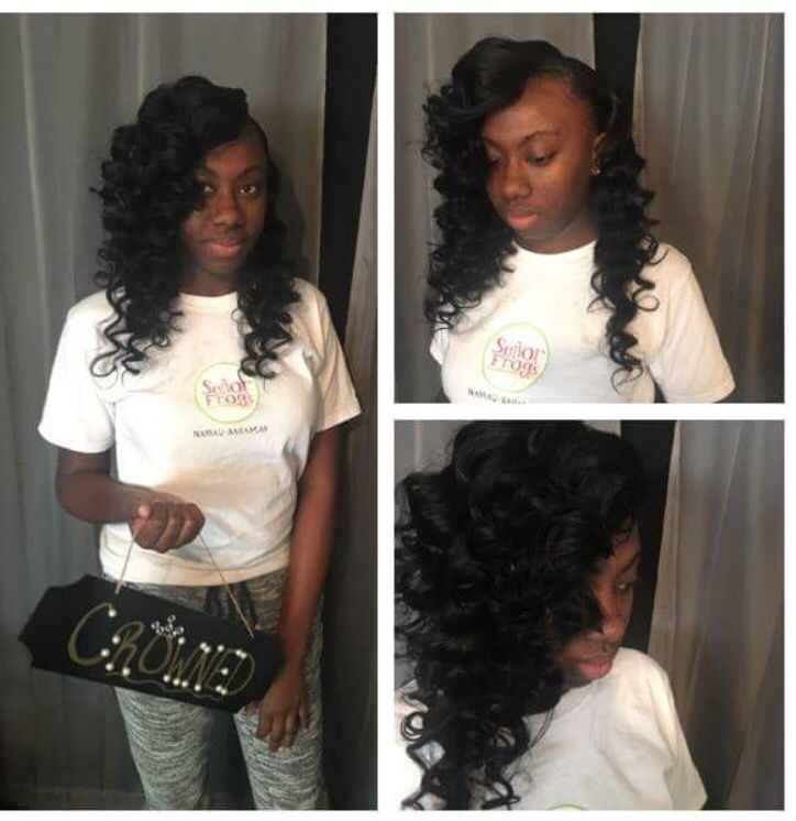 Natural sew in with wand curls