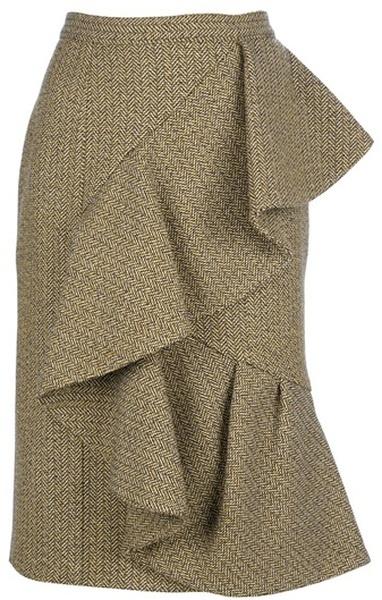 BURBERRY PRORSUM Ruffle Wool Skirt