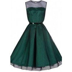 Droom weg bij de Aleena Dress van Lindy Bop! Dit prachtige stuk bestaat uit een donkergroene, glanzende jurk met daarover een transparante laag die is... Bekijk op http://www.grotematenwebshop.nl/product/lindy-bop-aleena-dress-emerald-green/