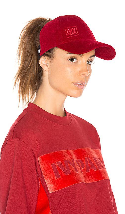 Shop for IVY PARK Backless Running Cap in Chilli Red Velvet at