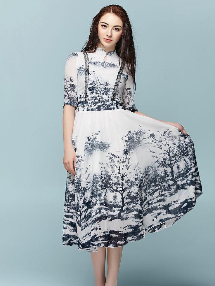 Shop Women's Dress Splash Ink Pattern Half Sleeve Vintage Dress online at Jollychic,FREE SHIPPING!