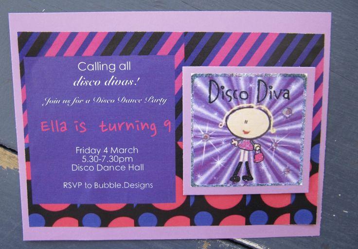Handmade Disco Diva Party Invitation