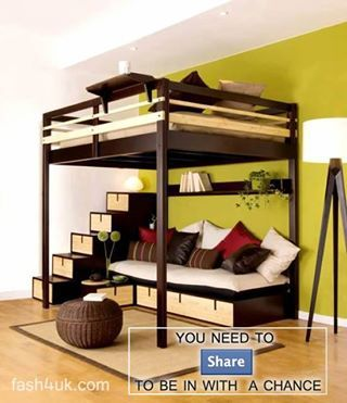 My son currently has a loft bed with a desk under it. The house we're looking at will have a better place for a desk, so maybe he'd like this so he and friends could hang out.