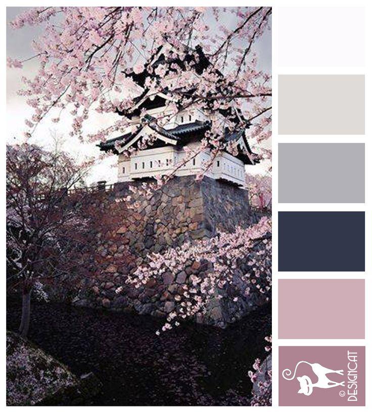 Cherry Blossom - white, grey, lilac, dusk, pink, lilac, blush Designcat Colour Inspiration Board