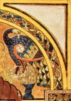 Orpiment, kanarie geel. Hier een detail uit Boek van Kells