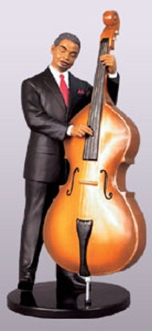 Ebony Vibrations: Bassist Jazz Player Figurine