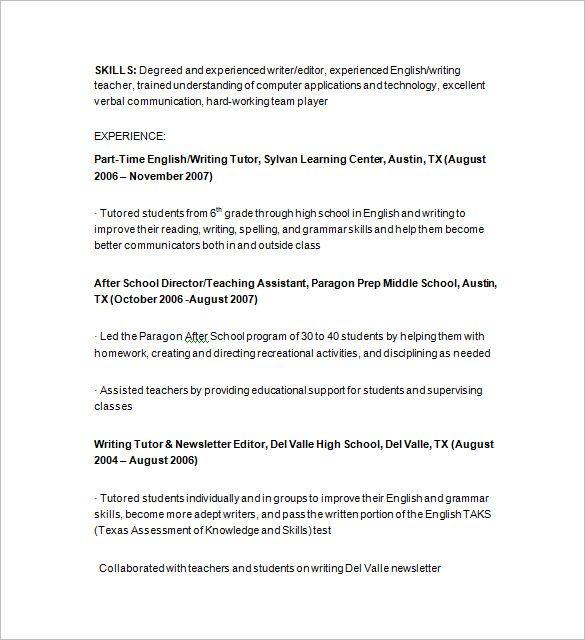 Tutor Resume Sample | Sample resume cover letter, Teacher ...