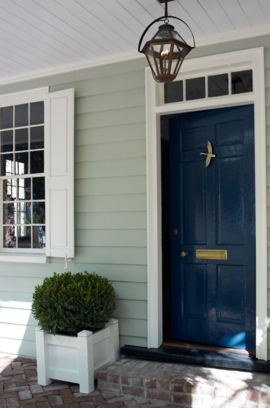 Entry/door color, ceiling detail, Torrance Mitchell design, Paint Color: Benjamin Moore, Gentlemans Gray