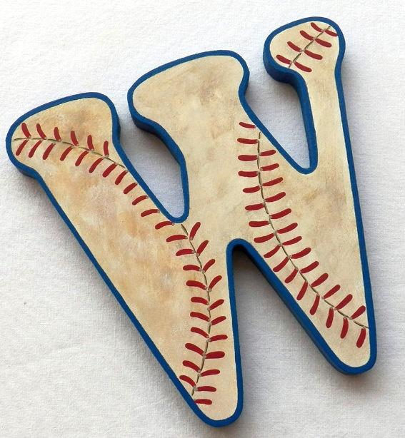 Baseball Custom Hand Painted Nursery Letters by PoshDots on Etsy