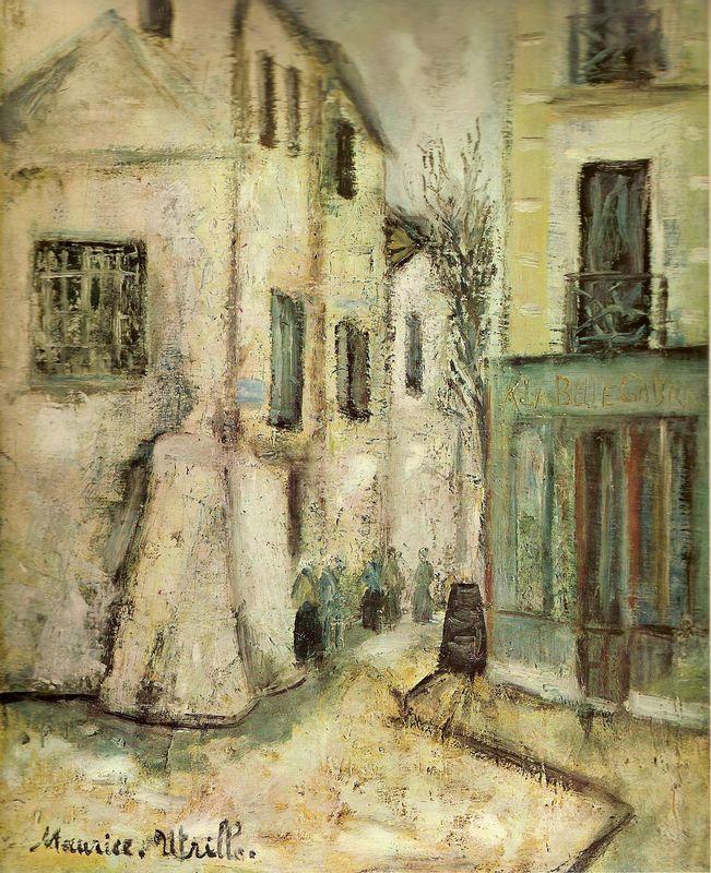 """Maurice Utrillo 1911 """"Il savait , comme Rimbaud l' a écrit, qu'il y a toujours par les rues, """" quand on a faim et soif, quelqu'un qui vous chasse"""" F Carco."""