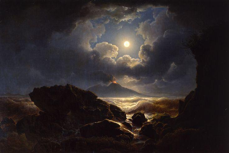 Joseph Rebell - Burrasca al chiaro di luna nel golfo di Napoli, 1823
