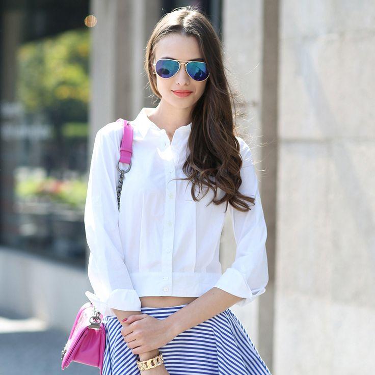 Veri Gude Лето Стиль Белый Хлопок Блузка Женщины Короткие Топы купить на AliExpress