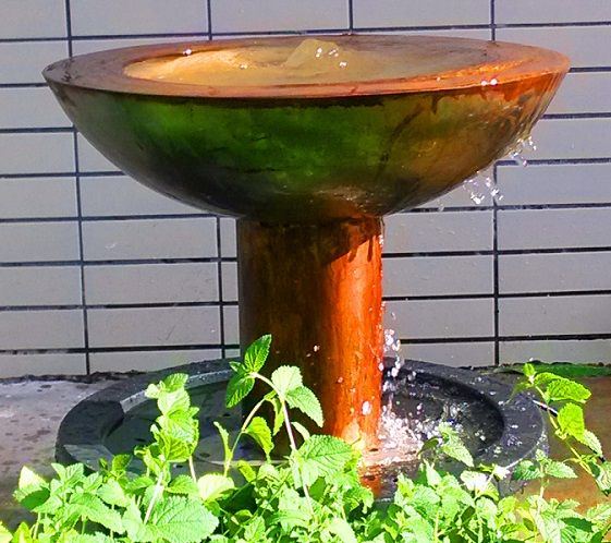 Outdoor Decor :: Water Features :: Corten Steel Water Feature Bowl with Pedestal -