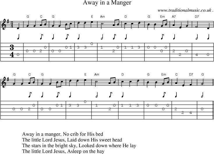 Music Score and Guitar Tabs for Away in a Manger : Sheet Music : Pinterest : Guitar tabs, Music ...