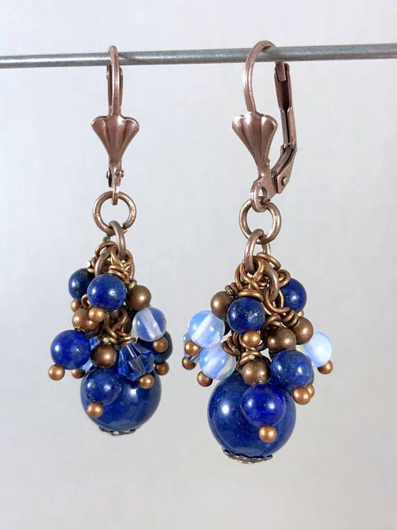 Lapis Lazuli Earrings Blue Earrings Dangle Earrings Stone