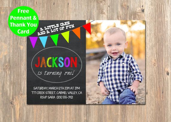 1st Birthday Photo Invitation Chalkboard Rainbow Printable Custom Design For Girl Boy Email Invites