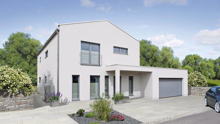 Fingerhut Einfamilienhaus weiß verputzt bodentiefe Fenster überdachter Eingangsbereich Garage