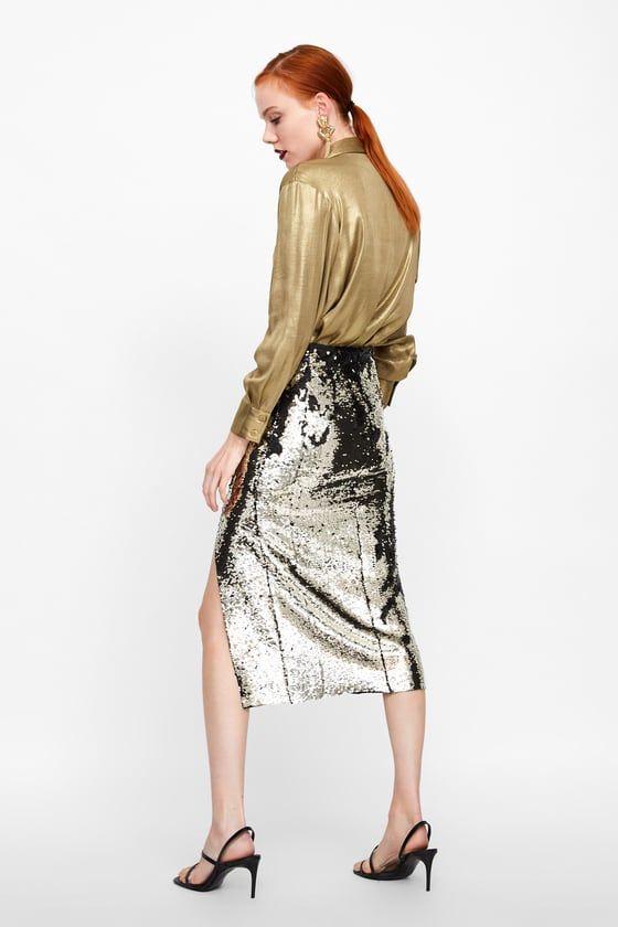 fe3ca8aff FALDA LENTEJUELAS | Navidad a la moda | Falda lentejuelas, Vestidos ...