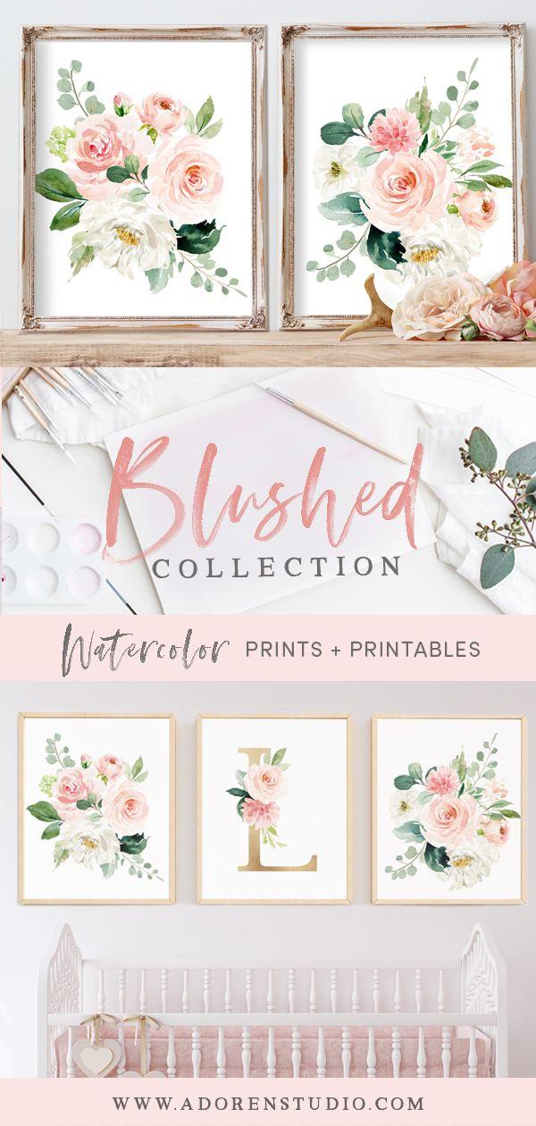 Nursery Art Prints Watercolor Fl Blush Elegant