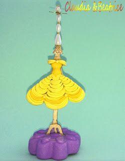 """Il meraviglioso mondo del Fimo... e altro ancora!: Orecchini, collana e porta-orecchini de """"La Bella e la bestia"""" modellati a mano in Fimo"""