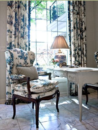 Faudree: Blue French Country Pillows, Country French, Desks Chairs, Country Design, Offices Spaces, Interiors Design, Charles Faudre, Faudre Style, Blue And White