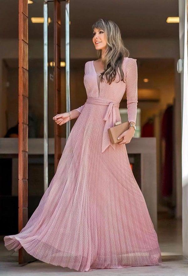 Vestido de festa manga longa: fotos, modelos e tendências 2019 - Pronta pra Festa in 2019 | Dresses, Formal dresses, Chiffon maxi dress