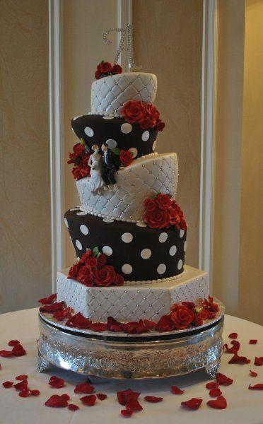 Weddingwire Custom Cake Design : Modern Black Red White Multi-shape Wedding Cakes Photos ...