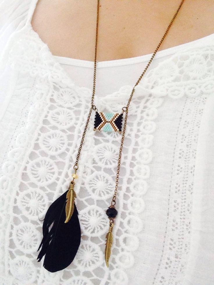 Collier perles miyuki ☆Indien☆plumes : Collier par crea-et-toile