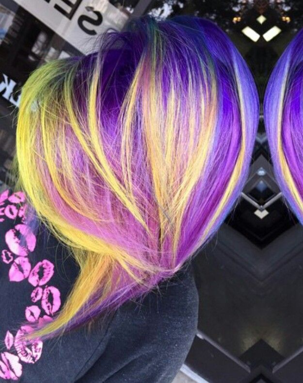 @beyondhairbyhayley  YELLOW neon purple streak dyed hair