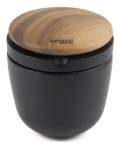 Skeppshult 0071V Swing Kräuter und Pfeffermühle aus Gusseisen mit Deckel aus schwedischem Walnußholz