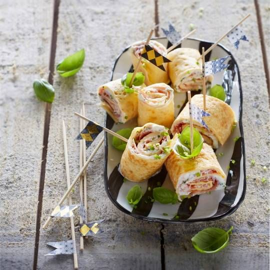 Boodschappen - Omeletrolletjes met rauwe ham en kruidenricotta
