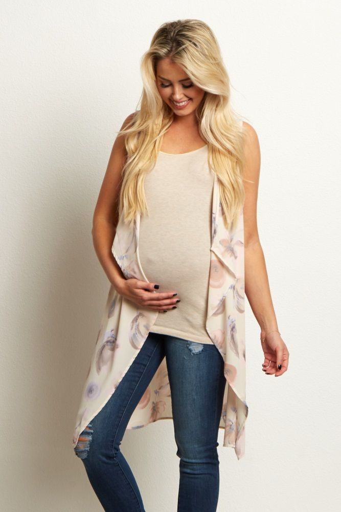 This floral maternity vest is the perfect layering piece for the spring season. A chiffon material is lightweight and looks beautiful layered over a basic maternity cami and jeans. An open front allows you to throw this vest on and take it off with ease.