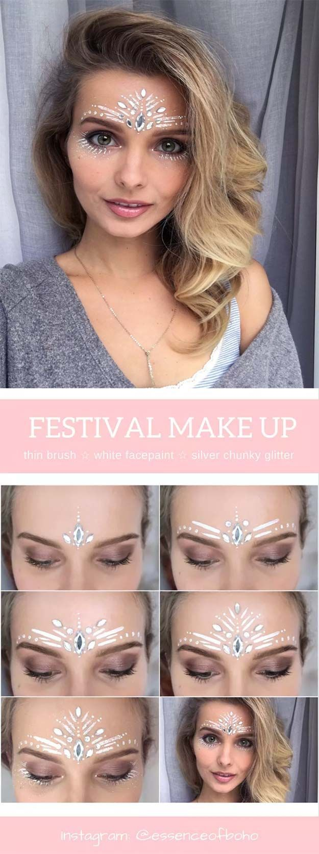 Festival Makeup Tutorials - Festival Makeup Tutorial: White Fairy - Awesome Glitter and Rhinestone Make Up Ideas for the Next Rave or Summer Music Festival - Awesome Tribal and Bohemian Looks For Summer Plus a Great Gold Boho Tutorial for the Next EDM Show - thegoddess.com/festival-makeup-tutorials