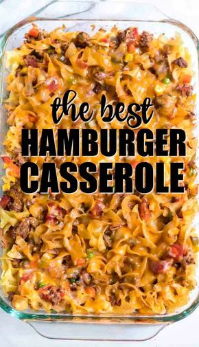Baked with noodles, ground beef, seasonings, cheese, and vegetables, this hambur…