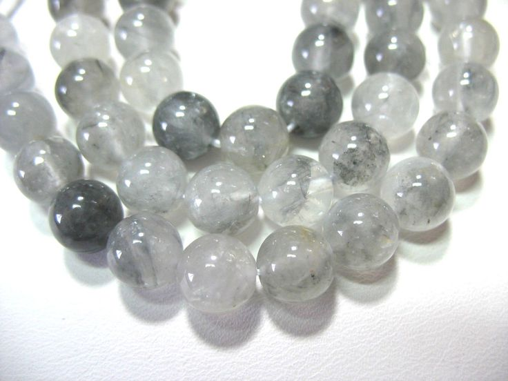 """Clear Quartz Gray Inclusions 8mm Round Beads 16"""" Untreated Natural"""